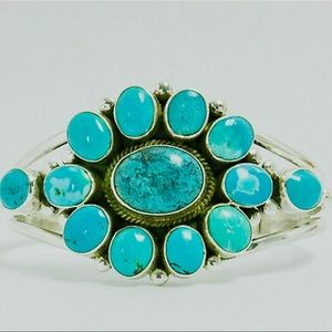 Navajo Piaso Turquoise Cluster Sterling .925 Cuff